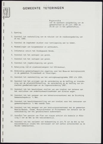Teteringen - Notulen en bijlagen van de gemeenteraad 1989-06-29