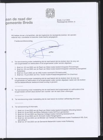 Breda - Bijlagen bij de notulen van de gemeenteraad 2003-07-02