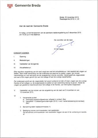Breda - Bijlagen bij de notulen van de gemeenteraad 2015-12-03