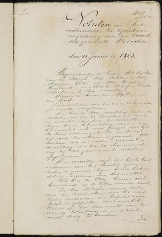 Breda - Notulen van de gemeenteraad 1883