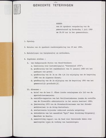 Teteringen - Notulen en bijlagen van de gemeenteraad 1980-07-03