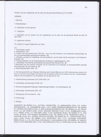 Breda - Notulen van de gemeenteraad 2004-05-27