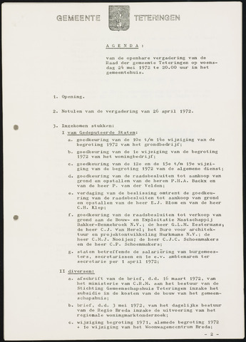 Teteringen - Notulen en bijlagen van de gemeenteraad 1972-05-24