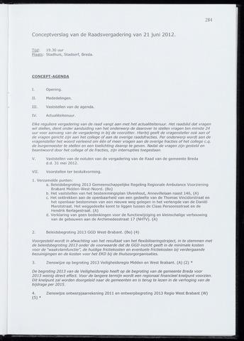 Breda - Notulen van de gemeenteraad 2012-06-21