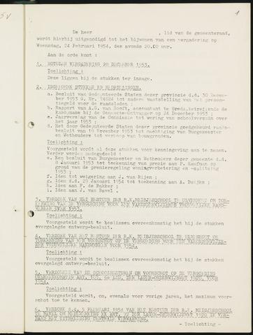 Nieuw-Ginneken - Notulen en bijlagen van de gemeenteraad 1954