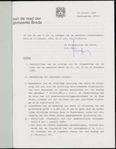 Breda - Bijlagen bij de notulen van de gemeenteraad 1989