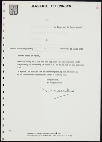 Teteringen - Notulen en bijlagen van de gemeenteraad 1988-04-28