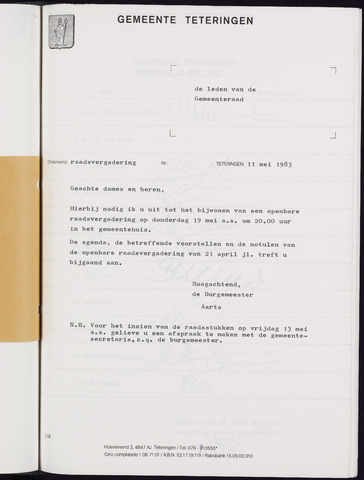 Teteringen - Notulen en bijlagen van de gemeenteraad 1983-05-19