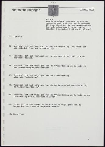 Teteringen - Notulen en bijlagen van de gemeenteraad 1992-10-29