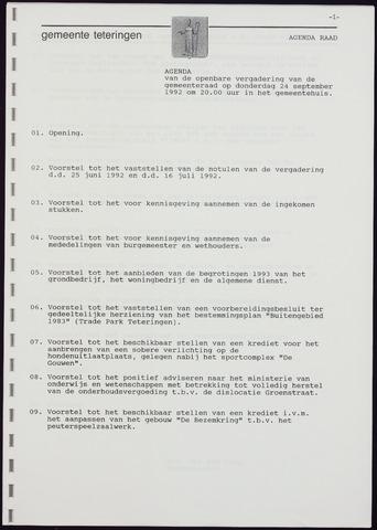 Teteringen - Notulen en bijlagen van de gemeenteraad 1992-09-24