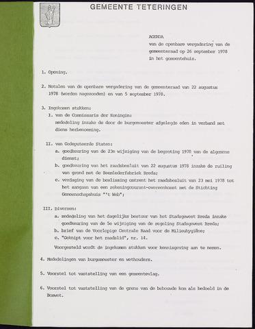 Teteringen - Notulen en bijlagen van de gemeenteraad 1978-09-26