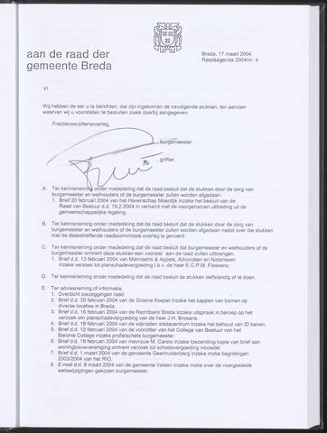 Breda - Bijlagen bij de notulen van de gemeenteraad 2004-03-17