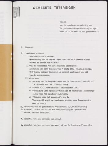 Teteringen - Notulen en bijlagen van de gemeenteraad 1982-04-15