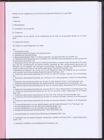 Breda - Notulen van de gemeenteraad 2005-04-21