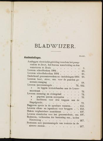 Breda - Indexen op de notulen van de gemeenteraad 1894-01-01