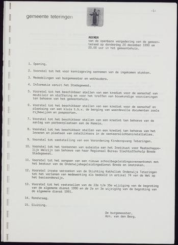 Teteringen - Notulen en bijlagen van de gemeenteraad 1990-12-20