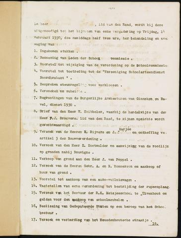 Ginneken en Bavel - Bijlagen bij de notulen van de gemeenteraad 1930