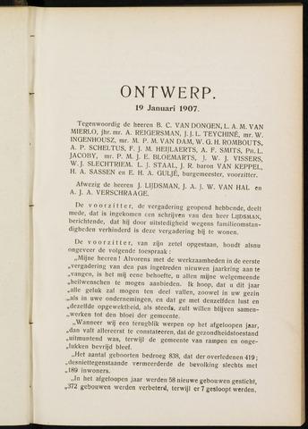 Breda - Notulen van de gemeenteraad 1907-01-01