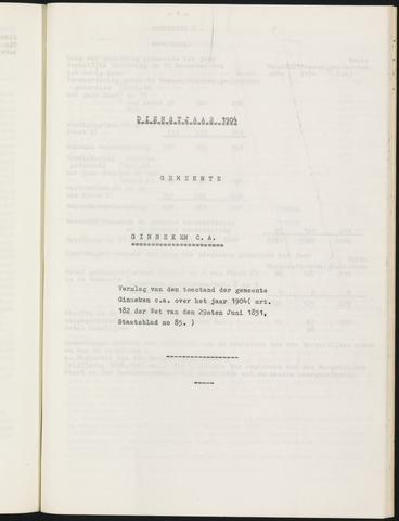 Ginneken en Bavel - Verslagen van de toestand van de gemeente 1904