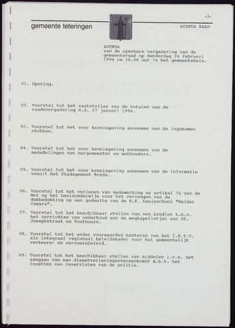 Teteringen - Notulen en bijlagen van de gemeenteraad 1994-02-24