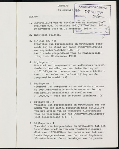 Breda - Notulen van de gemeenteraad 1984-01-01