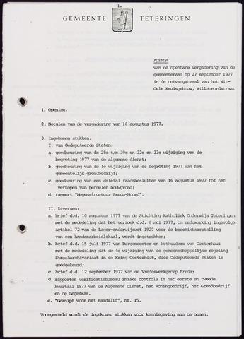 Teteringen - Notulen en bijlagen van de gemeenteraad 1977-09-27