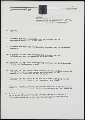 Teteringen - Notulen en bijlagen van de gemeenteraad 1994-06-02