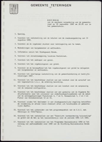 Teteringen - Notulen en bijlagen van de gemeenteraad 1989-09-28