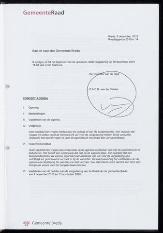 Breda - Bijlagen bij de notulen van de gemeenteraad 2010-12-16