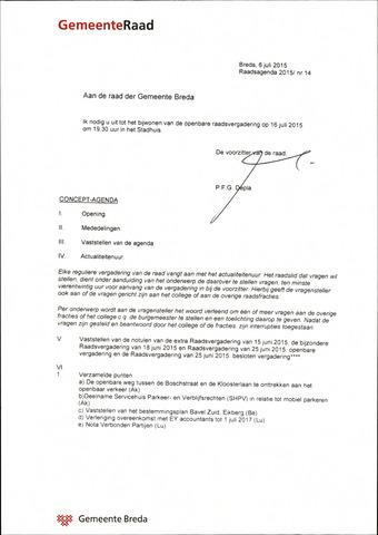 Breda - Bijlagen bij de notulen van de gemeenteraad 2015-07-16