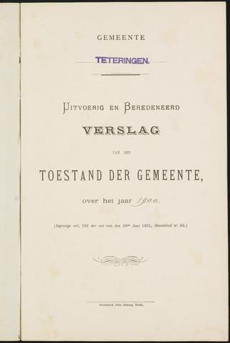 Teteringen - Verslagen van de toestand van de gemeente 1900
