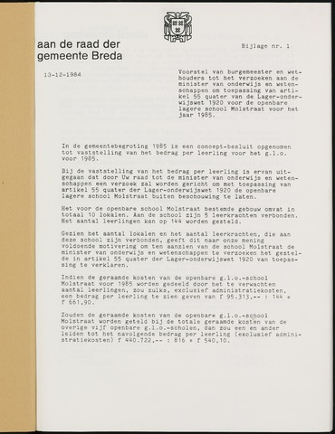 Breda - Bijlagen bij de notulen van de gemeenteraad 1985