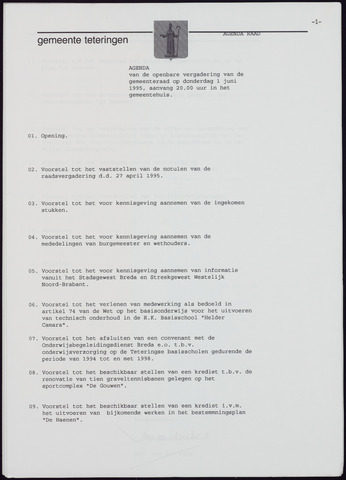 Teteringen - Notulen en bijlagen van de gemeenteraad 1995-06-01