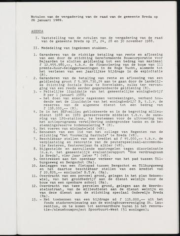 Breda - Notulen van de gemeenteraad 1989-01-01