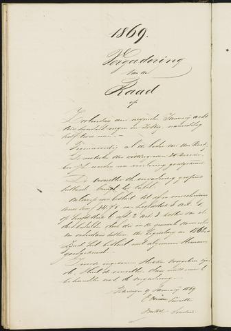 Teteringen - Notulen en bijlagen van de gemeenteraad 1869