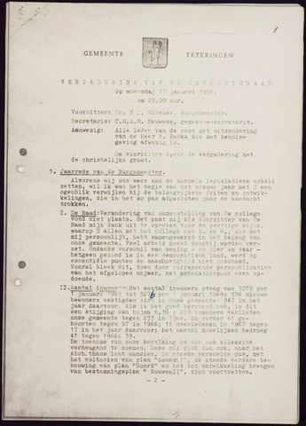 Teteringen - Notulen en bijlagen van de gemeenteraad 1968