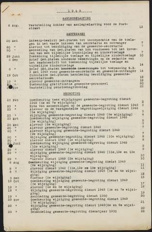 Teteringen - Indexen op de notulen van de gemeenteraad 1949-01-01