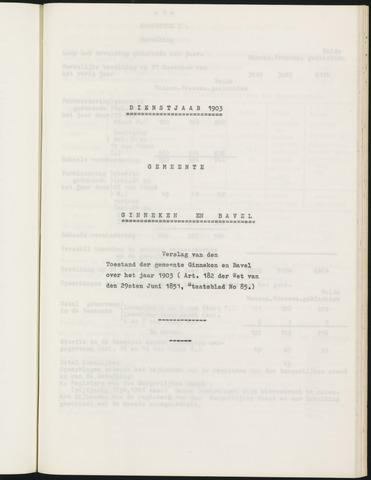 Ginneken en Bavel - Verslagen van de toestand van de gemeente 1903