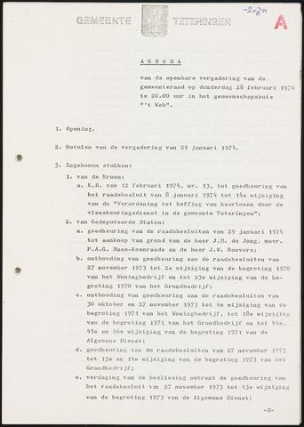 Teteringen - Notulen en bijlagen van de gemeenteraad 1974-02-28
