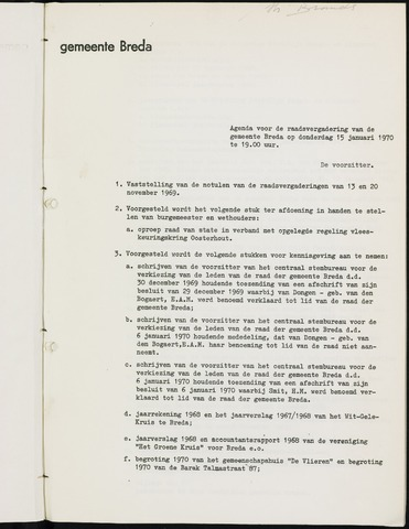 Breda - Bijlagen bij de notulen van de gemeenteraad 1970-01-01