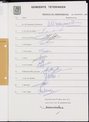 Teteringen - Notulen en bijlagen van de gemeenteraad 1985-08-29