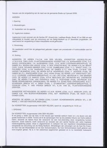Breda - Notulen van de gemeenteraad 2006-01-05