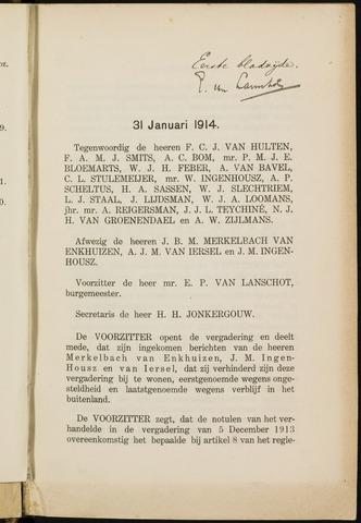 Breda - Notulen van de gemeenteraad 1914-01-01