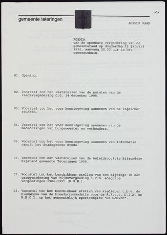 Teteringen - Notulen en bijlagen van de gemeenteraad 1996