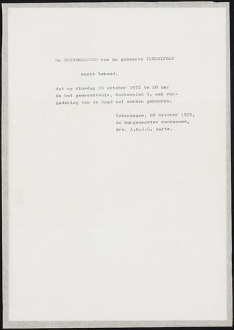 Teteringen - Notulen en bijlagen van de gemeenteraad 1972-10-24