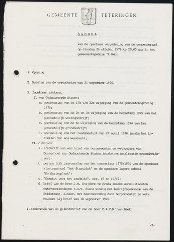 Teteringen - Notulen en bijlagen van de gemeenteraad 1976-10-26