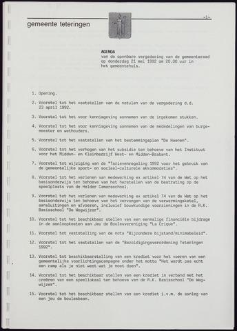 Teteringen - Notulen en bijlagen van de gemeenteraad 1992-05-21