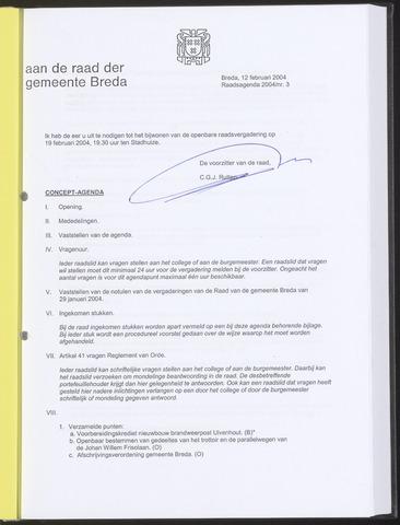 Breda - Bijlagen bij de notulen van de gemeenteraad 2004-02-12