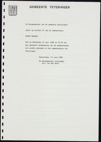 Teteringen - Notulen en bijlagen van de gemeenteraad 1988-06-30