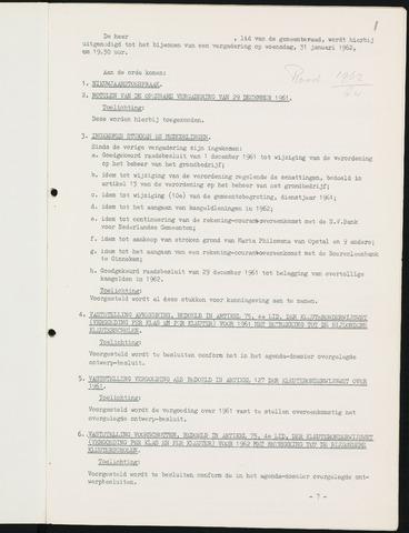 Nieuw-Ginneken - Notulen en bijlagen van de gemeenteraad 1962